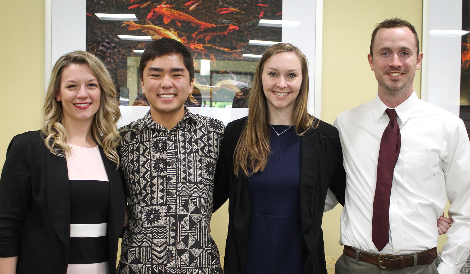 MPH graduating students Shelby Borowski, Travis Oishi, Kayla Septer, and Dylan Allanson